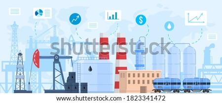 Oil gas industry vector illustration. Cartoon flat industrial landscape with chemical or petrochemical processing oil refinery plant and oil gas extraction factory, rig tower silhouettes background