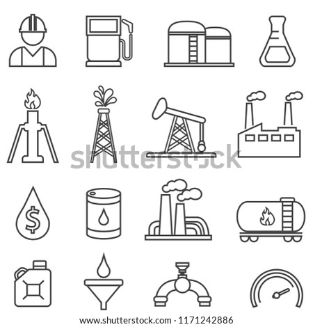 Oil, gas, petroleum, energy and drilling line icon set for web