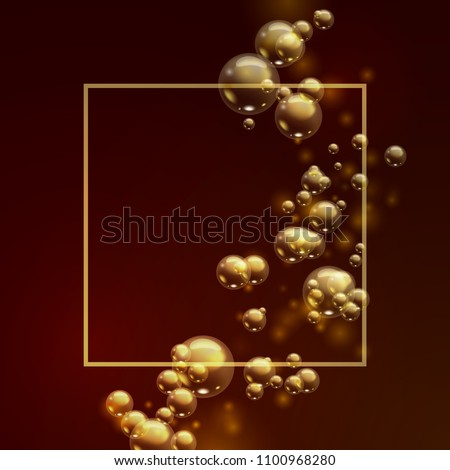 Oil gold bubbles isolated on a dark background. Golden balls template. Cosmetic pill capsule of vitamin E or argan oil. Vector realistic serum droplets of drug or collagen essence with place for text