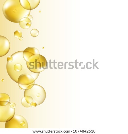 Oil gold bubbles isolated on white background. Cosmetic pill capsule of vitamin E or argan oil. Golden balls template. Vector realistic serum droplets of drug or collagen essence with place for text