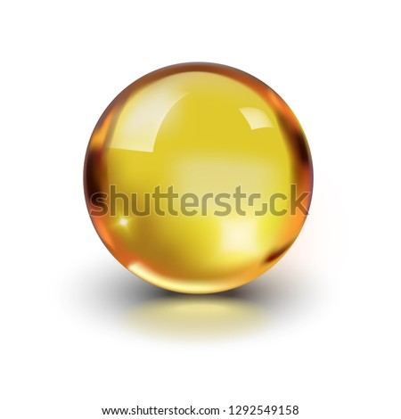 Oil gold glass ball isolated in vector on white background. Cosmetic pill capsule of vitamin E, A, Argan oil, Almond, cod liver, Omega 3, fish. Golden bubble template. Realistic 3d.