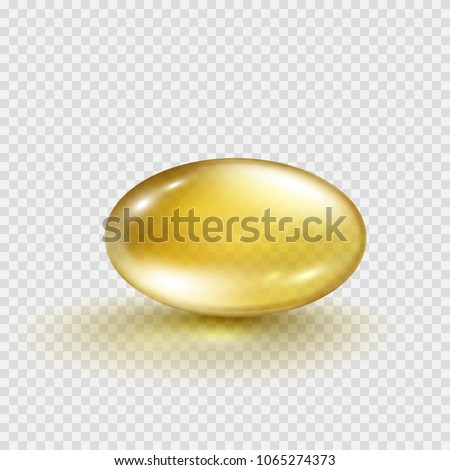 Oil gold oval bubble isolated on transparent background. Cosmetic capsule of vitamin E, A or omega 3 oil. Golden antibiotic gel pill icon template. Vector realistic serum droplet of collagen essence.