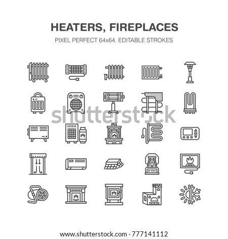 Oil heater, fireplace, convector, panel column radiator and other house heating appliances line icons. Home warming thin linear pictogram. Equipment store signs. Pixel perfect 64x64.