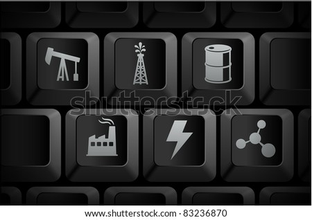 Oil Icons on Computer Keyboard Buttons Original Illustration
