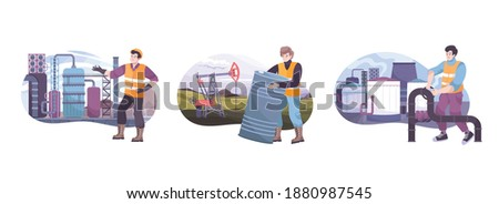 Oil industry composition with oil deposit symbols flat isolated vector illustration Сток-фото ©