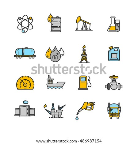 oil industry icon set  outline
