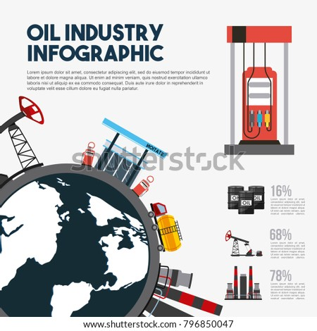 oil industry infographic world map station gasoline prodcution