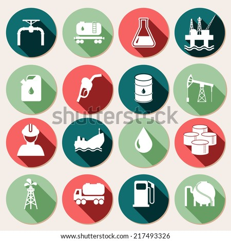 Oil industry petrol and gasoline energy icons set isolated vector illustration