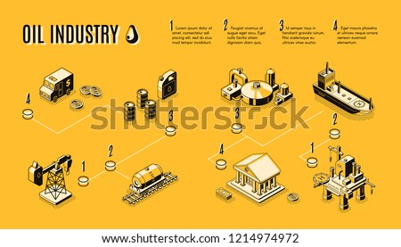 Oil industry, petroleum production process components line art, isometric vector concept. Petroleum extraction and refining, fuel transportation from drilling rig to plant and oil market infographics