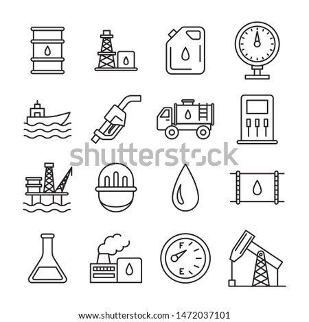 Oil Industry Sign Black Thin Line Icon Set Include of Factory, Pump, Barrel and Ship. Vector illustration of Icons