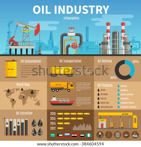 Oil industry vector infographics with extraction transportation and consumption statistics products of refining information and petrol station illustration
