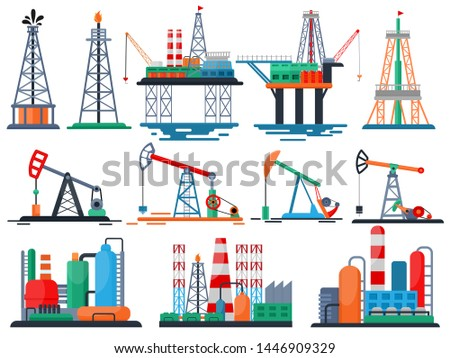 Oil industry vector oily products oiled technology producing drilling fuel pump illustration set of industrial equipment crane isolated on white background