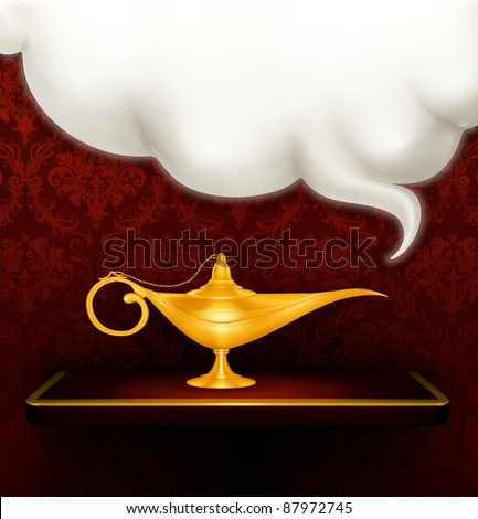 Oil lamp, vector