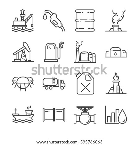 oil line icon set included the