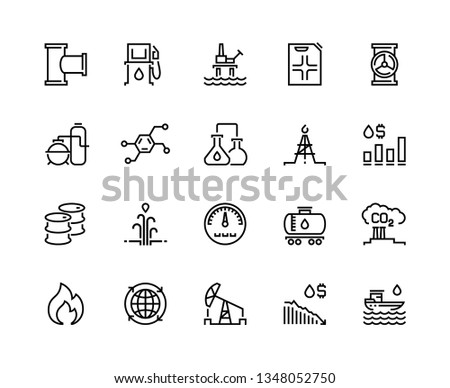 Oil line icons. Gas fuel station, chemical industry petrol tank, petroleum refinery factory, oil rig drill platform. Fuel vector set