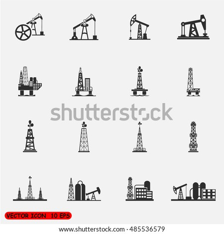 Oil Offshore Platform Colloquially Rig Symbol Icon Design Template on Grey Background Vector Illustration