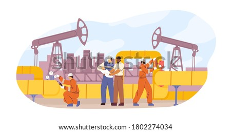 Oil or gas pipeline service vector flat illustration. Engineer and oilman looking to professional document isolated. Team of diverse technician workers control and check pressure work together
