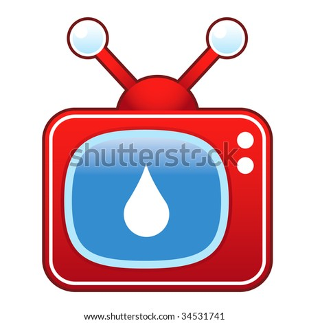 Oil or water drop icon on retro television set