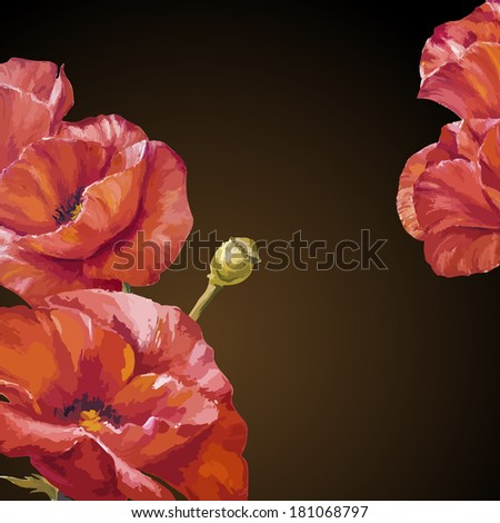 oil painting card with poppies