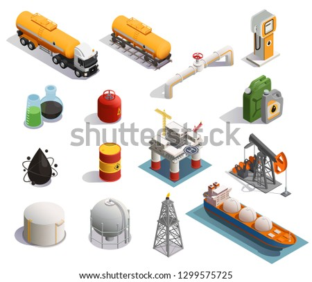 Oil petroleum industry isometric icons set with extraction refinery plant products transportation tanker pipeline isolated vector illustration Сток-фото ©