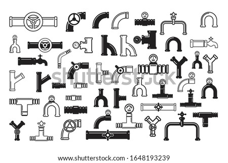 Oil pipe with pressure gauge, metal tube manometer and drain plumbing connector, toilet or industrial gas pipes. Pipeline construction isolated vector icons set