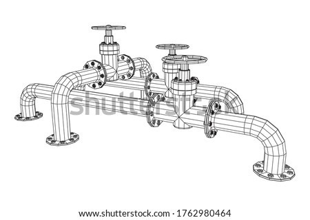 Oil pipeline with valve business concept. Finance economy polygonal petrol production. Petroleum fuel industry transportation line. Wireframe low poly mesh vector illustration. stock photo