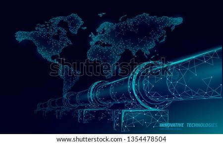 Oil pipeline world map business concept. Finance economy polygonal petrol production. Petroleum fuel industry transportation line connection dots blue vector illustration