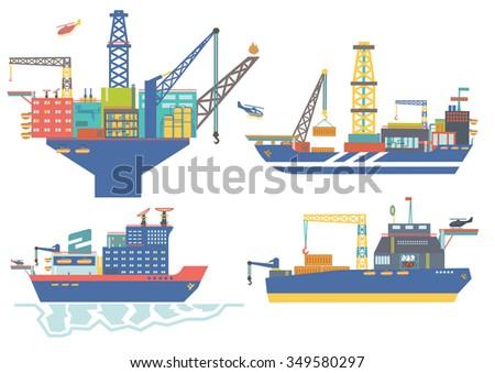 Oil platform, drillship, oil and gas barge, icebreaker vector illustration,oil offshore industry.