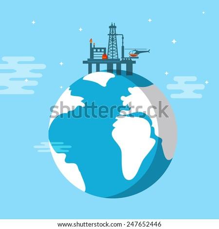 Oil platform flat vector illustration