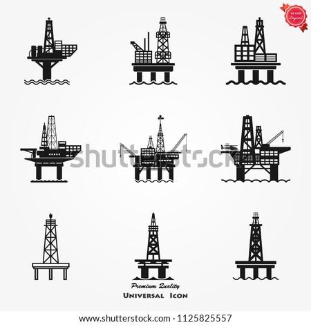 Oil platform icon gas Sea Rig Platform Illustration, fuel Production Symbol.