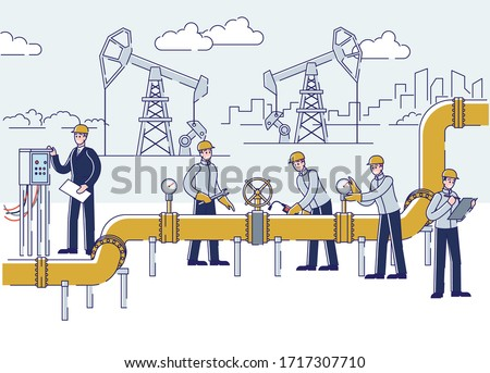 Oil Production, Offshore And Gas Industry. People Work On Oil And Rig Plant. Operators Control Oil And Gas Transportation From Plant By Oil Pipeline. Cartoon Linear Outline Flat Vector Illustration