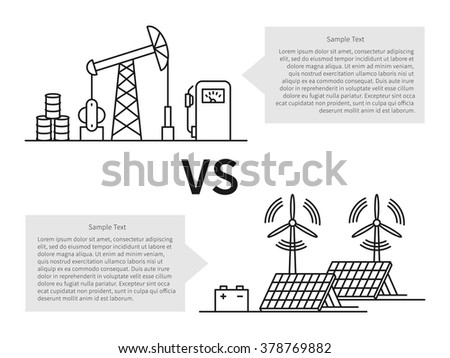 Oil production versus electric energy linear vector illustration with fuel hose pipe, petroleum, fuel, battery, wind turbine. Fuel energy vs electric creative graphic concept. Sample text boxes.