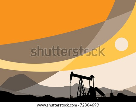 Oil Pump and abstract sunset, vector illustration