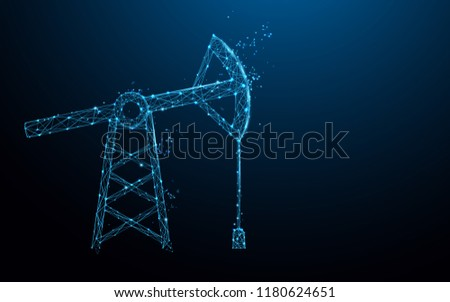 Oil pump form lines, triangles and particle style design. Illustration vector
