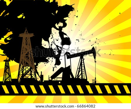 Oil Pump on abstract background, vector illustration