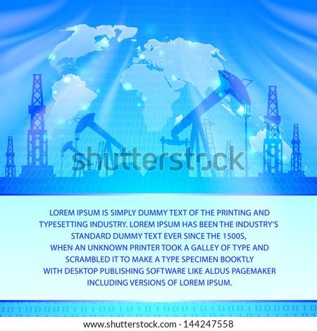 Oil Pump on blue. Vector illustration.