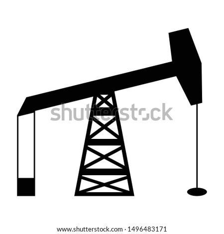 oil pump or pump jack icon black and isolated vector illustration