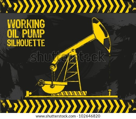 oil pump with grunge edges on a grunge background vector illustration