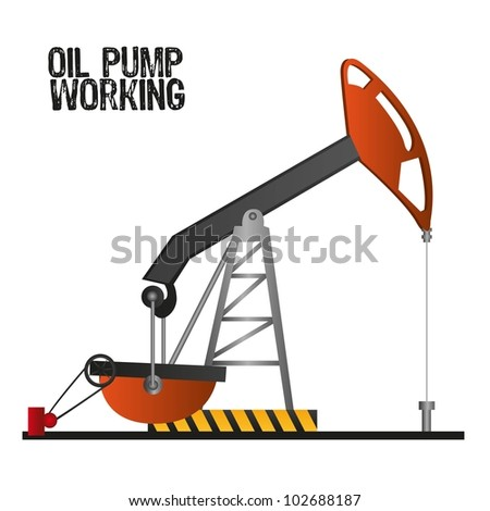 oil pump working,  isolate on white background, vector illustration