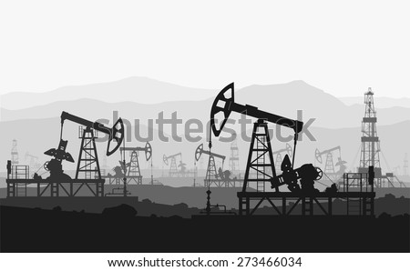 Oil pumps at large oilfield over mountain range. Detail vector illustration