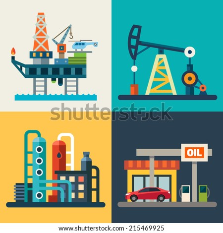 Oil recovery, oil rig, a gas station. Vector flat illustrations