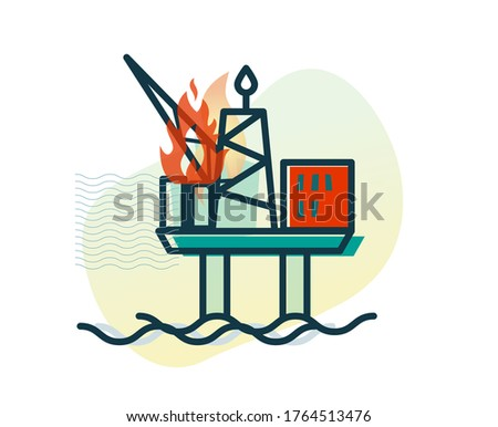 Oil Rig Accident - Offshore Platform - Stock Icon as EPS 10 File