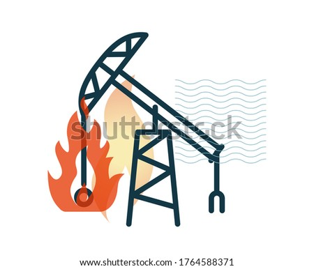 Oil Rig Accident - Stock Icon as EPS 10 File