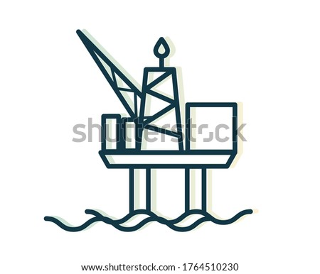 Oil Rig - Offshore Platform - Stock Icon as EPS 10 File
