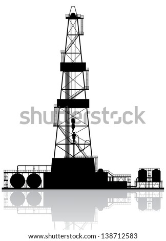 Oil rig silhouette. Detailed vector illustration isolated on white background.