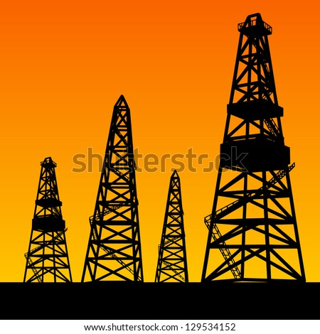 Oil rig silhouettes and orange sky. Vector illustration, eps10, contains transparencies, gradients and effects.