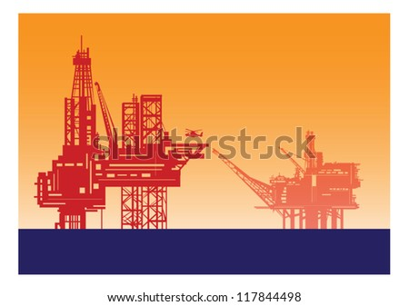 Oil rig structures in red silhouette.