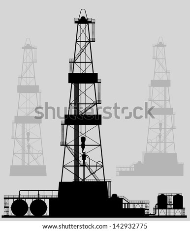Oil rigs silhouette Detailed vector illustration