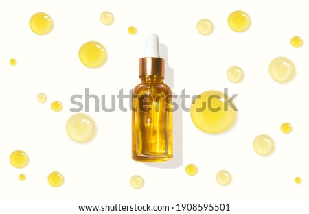 Oil serum glass bottle and collagen drops realistic vector illustration, top view. Aromatherapy oil. Cosmetic skincare anti-age fluid