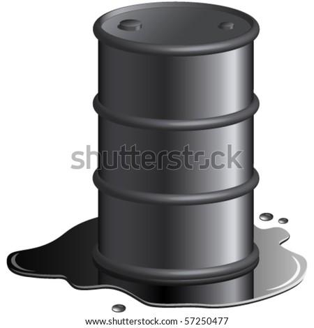 oil spill and oil barrel vector illustration